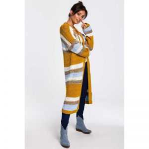 Bunte Grobstrickjacke in Longform