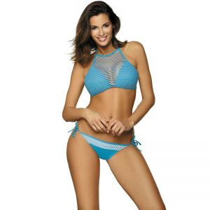 Origineller Bikini mit Top in Blau