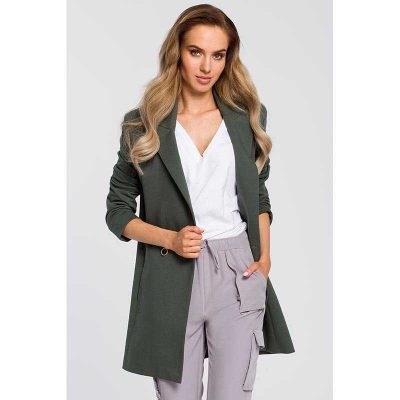 Chicer langer Businessblazer in Khaki