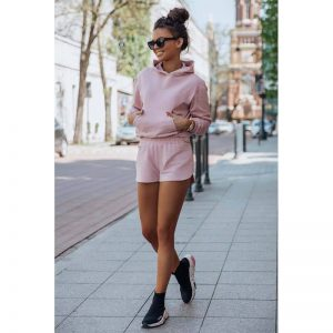 Rosa Fitness Set Sweatshirt mit Shorts