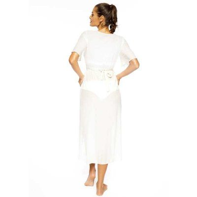 Weisses langes transparentes Strandkleid