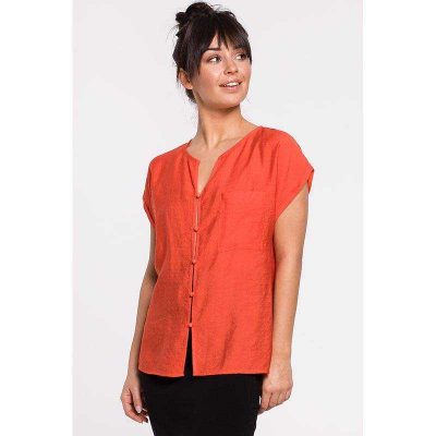 Lässige Kurzarm Bluse in Orange