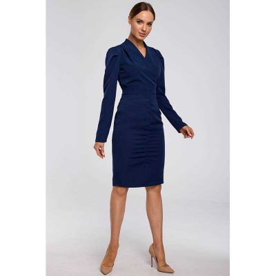 Blaues Businesskleid mit Raffungen